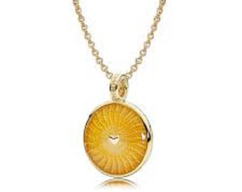 Authentic Pandora Rays of Sunshine Pendant Charm with SHINE 18K Chain