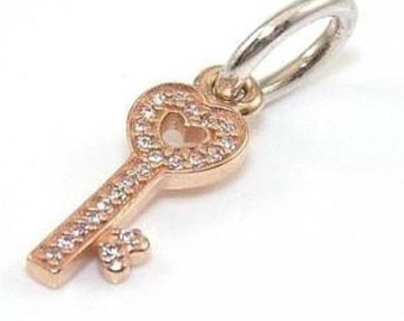 eb3a520c4 Pandora Charms Symbol of Trust 14k Rose Gold Key Dangle Charm   Etsy