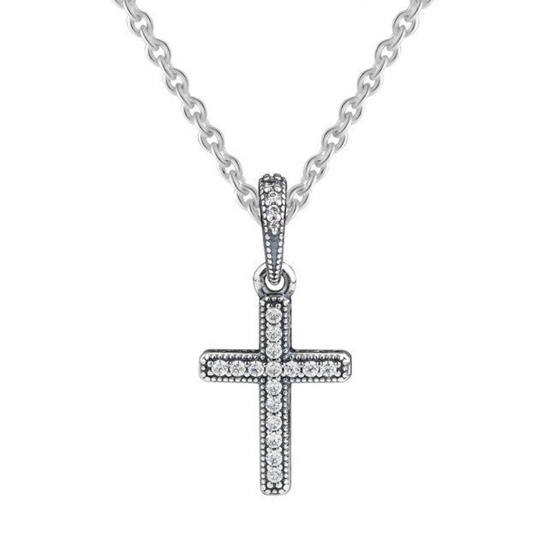 37fd10afd54fd Pandora Charms,Classic Cross Pendant Dangle,Sterling Silver,Clear CZ,2018  Winter Collection,