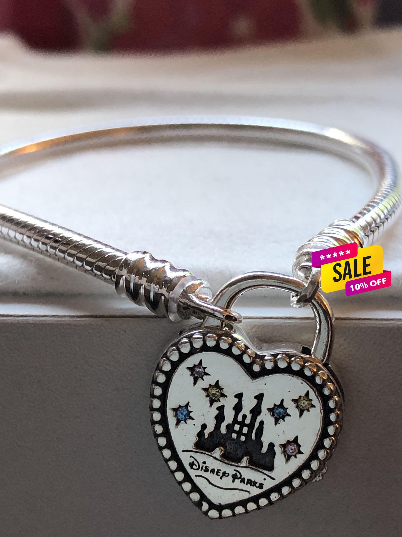 Disney Parks, 2019 FantasyLand Heart Lock Bracelet, Pandora Disney,,  Fathers Day Gift