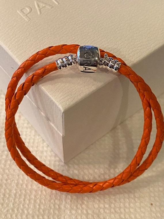 Bracelet Pandora cuir orange vif bracelet double | Etsy