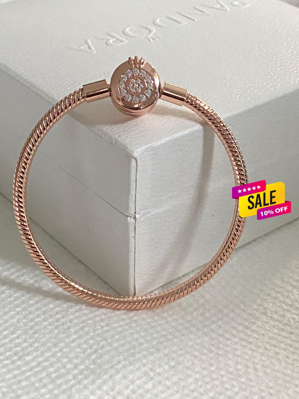 Pandora Bracelet, Sparkling Crown O Snake Chain Bracelet, Moments Rose  Gold,, Fathers Day Gift