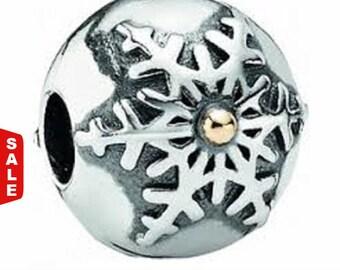 Sale -  Authentic Pandora Winter Wonderland Bracelet Clip Silver 14K Gold #791232