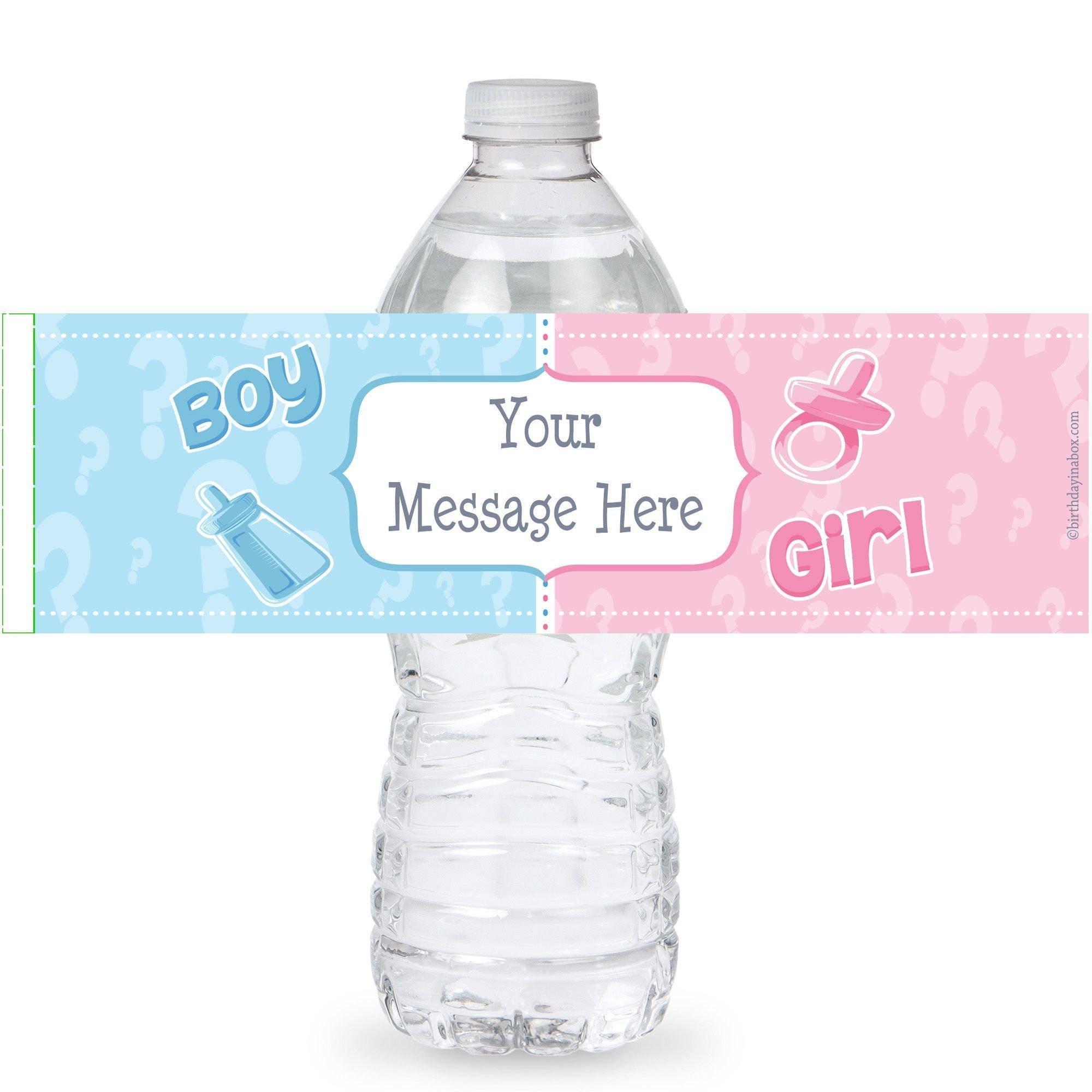 Personalized Gender Reveal Water Bottle Labels Self