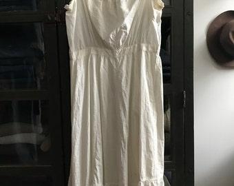 Vintage antique edwardian cotton under dress night gown slip summer dress eyelet and lace