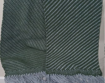 Handwoven Scarf, Green and Grey, Super soft and fluffy, 100% Acrylic Yarn