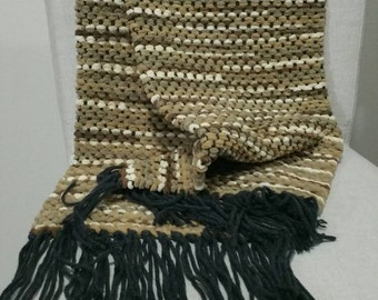 Handwoven Scarf, White/Tan/Brown, Super soft and fluffy, 100% Acrylic Yarn