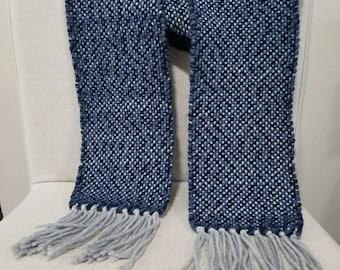 Handwoven Scarf, Blue/Grey, Super soft and fluffy, 100% Wool weft yarn.