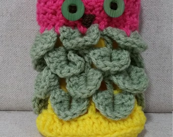 Owl Purse - Pink Head with Green and Yellow Body and Green Eyes