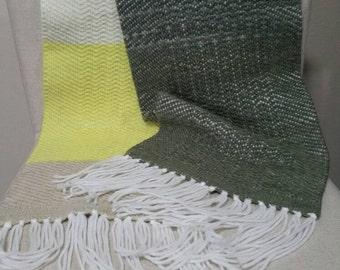 Handwoven Scarf, Yellow/Tan/Brown, Super soft and fluffy, 20% Wool Yarn