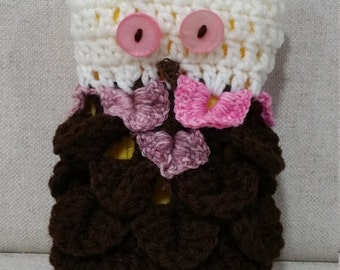 Owl Purse - Cream Head with Brown Body and Pink eyes and Accents