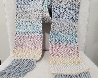Handwoven Scarf, Rainbow/Beige/Grey, Super soft and fluffy, 100% Wool weft yarn.