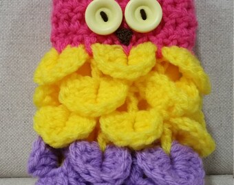 Owl Purse - Pink Head with Yellow and Purple Body and Yellow Eyes