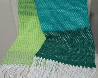 Handwoven Scarf, Green Strips, Super soft and fluffy, 20% Wool Yarn