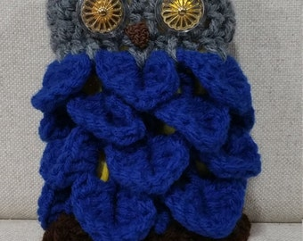 Owl Purse - Grey Head with Blue body and Patterned Eyes