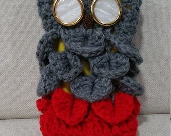 Owl Purse - Grey Head with Red Body and Pearlescent Eyes