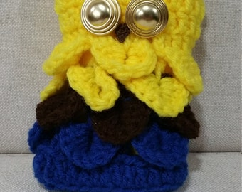 Owl Purse - Yellow Head with Black and Blue Body and Gold Eyes