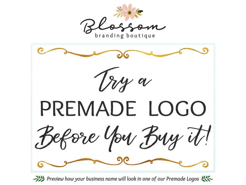 b9d5aecf86d73 Try Before You Buy! Preview Your Custom Text in a Premade Logo Design  before Purchase & Receive a Full Refund if You Purchase the Same Logo!