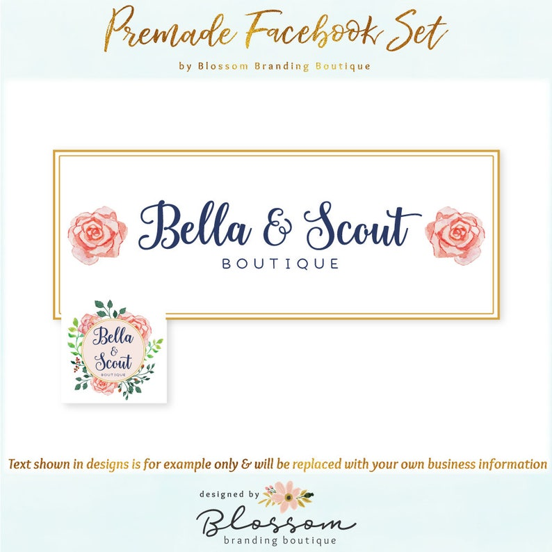 Floral Facebook Cover + Profile Image - Limited Edition! Coordinating Logo  Available! Perfect for Boutique, Floral Stylist + much more!