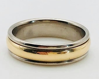 d49696b15 RETIRED James Avery Solid 14k Yellow Gold and Palladium Band Ring! Size 11!