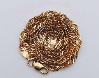 """18/"""" Italian Solid Sterling Silver Vermeil Pink Gold Cable Link Chain 1.5g"""