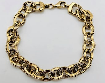 ae15cb5ef26 Beautiful Solid 14k Yellow Gold Oval Link Chain Bracelet! 8.50 Inches!
