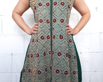 Beaded teal tradition Indian smock dress