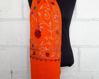 Orange or Red floral embroidered folk scarf from North India