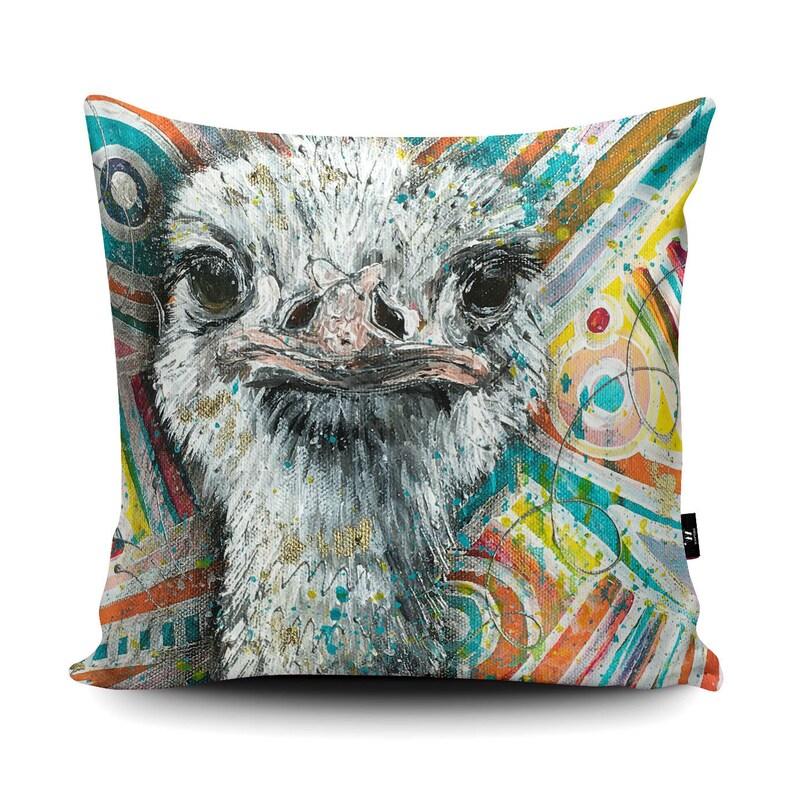 Artist Designed Vegan Suede Ostrich Cushion