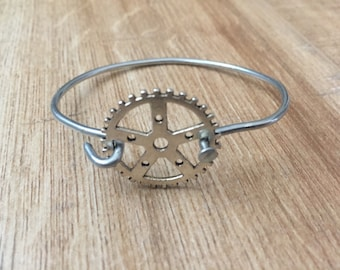 Recycled Bike Spoke Bracelet with Sprocket