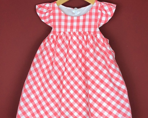 "The ""Flutter-By Dress"" in Salmon Gingham."