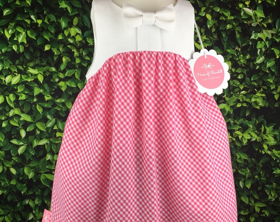 "The 'Bow Tie Dress"" in Pink & White Gingham"