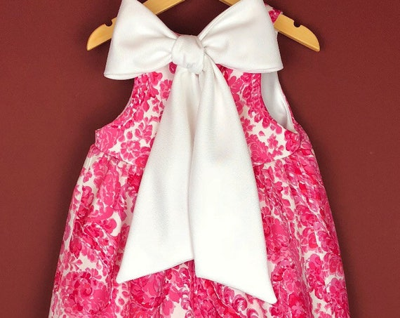 "The ""Bow-Backed Dress"" in Pink Paisly."