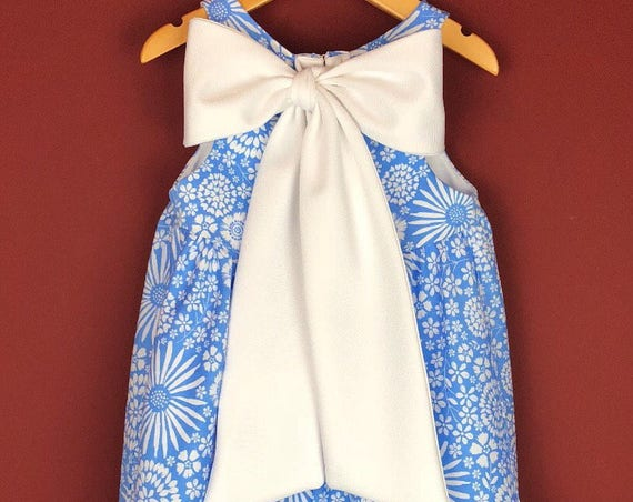 "The ""Bow-Backed Dress"" in Graphic Blue Floral."