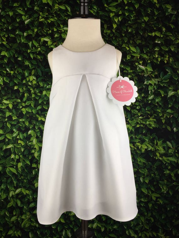 """The """"Jet Plane Dress"""" with Removable Contrail in White Gabardine"""