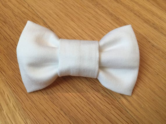 "The ""Bow-Tie Barrette"" in White Sateen"