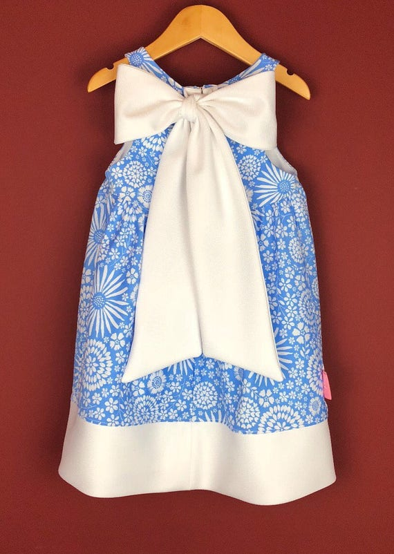 """The """"Bow-Backed Dress"""" in Graphic Blue Floral."""