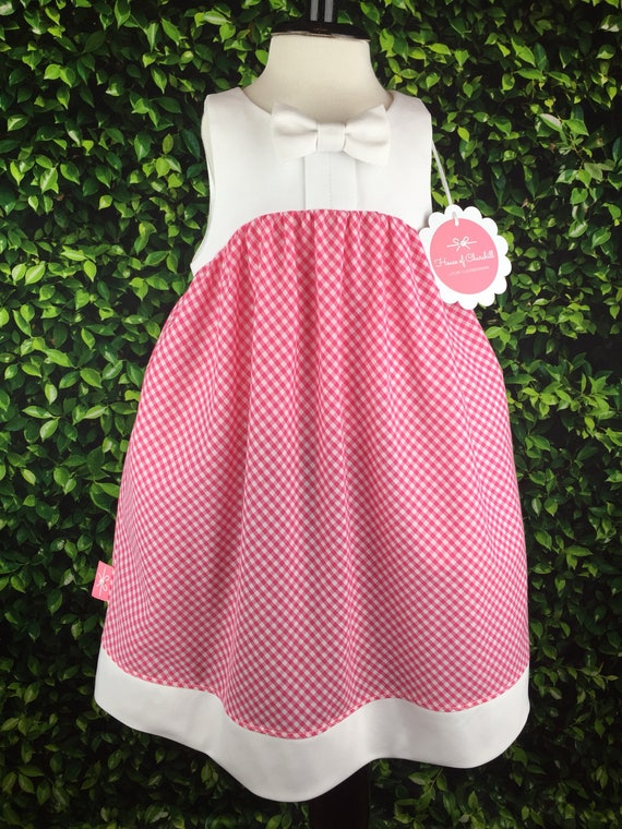 """The 'Bow Tie Dress"""" in Pink & White Gingham"""
