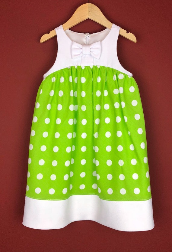 """The """"Bow Tie Dress"""" in Lime Polka Dot"""
