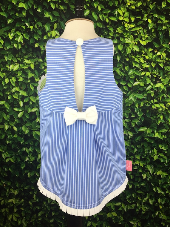 """The """"Key Hole Tunic"""" in French Blue & White Stripe"""