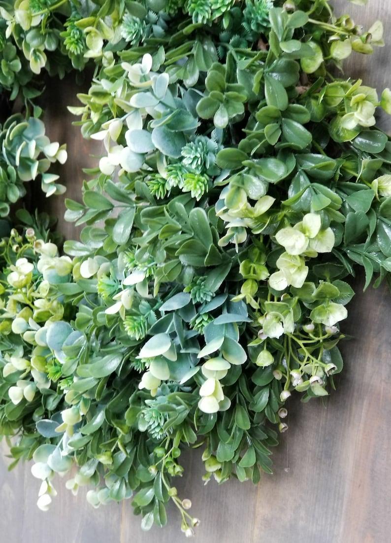 Farmhouse Boxwood Wreath for Front Door Year Round Everyday Wreath Mixed Greenery Christmas Boxwood All Season Outdoor Farmhouse Decor