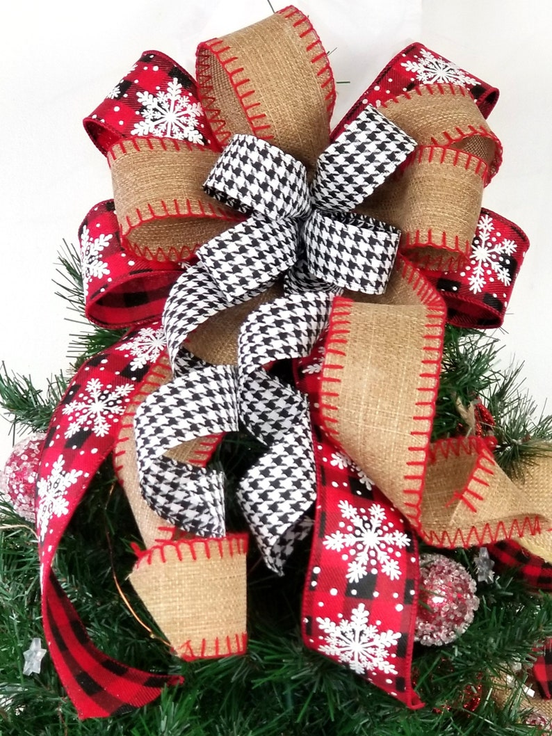 Rustic Farmhouse Tree Topper Bow Christmas Buffalo Plaid and image 0