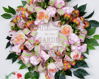 Spring Wreath, Spring Decor, Spring Door Wreath, Welcome Wreath, Mother's Day Wreath, Easter Wreath
