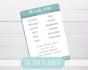 7x9 ECLP Planner Monthly View Month Name Stickers 8x10 Softbound ECLP Stickers Smoky Colored #920-015-004-WH