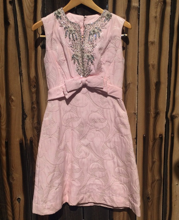 Stunning pink, beaded, brocade cocktail dress - image 1
