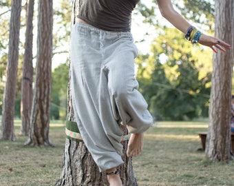 Hemp Hippie Harem Pants Plain Grey Loose Yoga Aladdin Trousers Genie Drop Crotch Gypsy Baggy Pockets Festival Belly Dance