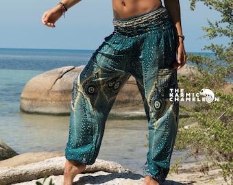 a51f31f7fa Teal Peacock Feather Harem Pants Yoga Pants Hippie Trousers Gypsy Boho  Womens Loose Festival Summer Beach Holiday