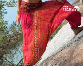015a4f2bfe5 Harem Pants Pink Peacock Feather Print Gypsy Hippie Boho Aladdin Loose Yoga  Pattern Baggy Festival Funky Bellydance