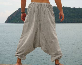 0d73c2fde5 Mens Hemp Harem Pants Grey Hippie Plain Loose Yoga Aladdin Genie Drop  Crotch Gypsy Baggy Pockets Festival