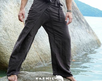 Brown Hemp Thai Fisherman Pants Hippie Yoga Pants Mens Plain Loose Martial Arts Kung Fu Baggy Hippy Festival